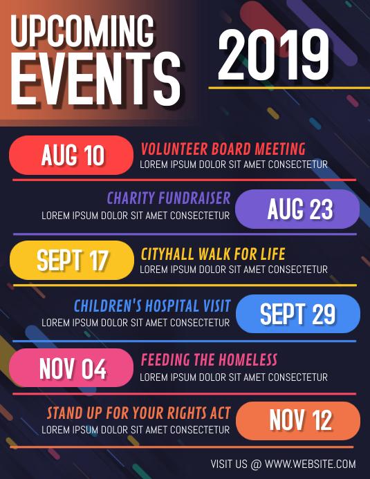 Event calendar Volante (Carta US) template