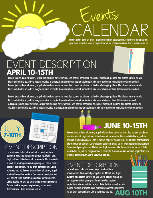 event calendar template postermywall. Black Bedroom Furniture Sets. Home Design Ideas