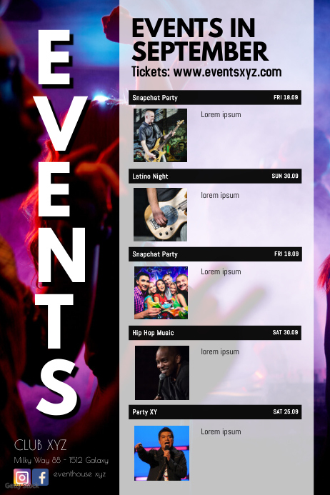 Event Calendar Time Table Dates List Upcoming