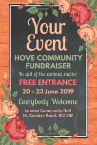 Event Chalkboard Floral Poster Template