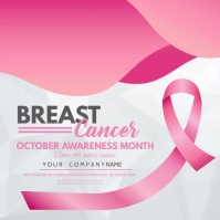 event flyer,Breast cancer awareness day , Square (1:1) template