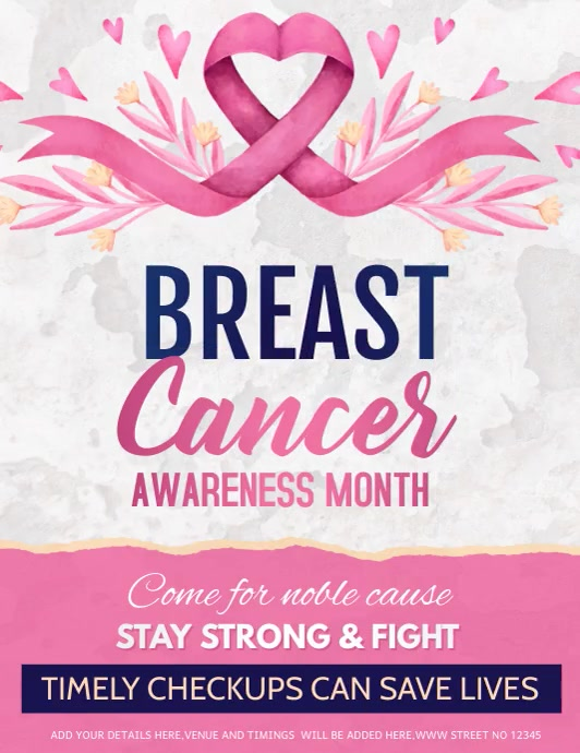 event flyer,Breast cancer awareness flyer Рекламная листовка (US Letter) template