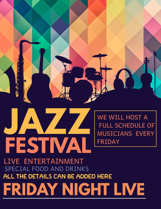 event flyer,music flyer ,concert flyer,Jazz templates Pamflet (VSA Brief)
