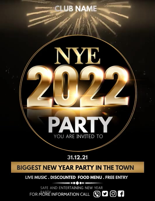 Event flyer,party flyer,new year flyers Løbeseddel (US Letter) template