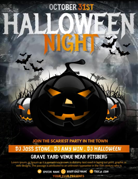 event flyer,party flyers,Halloween Flyers Løbeseddel (US Letter) template
