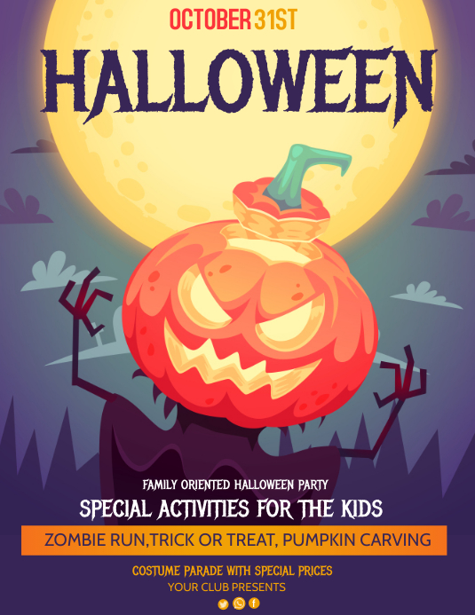 Event flyer,party flyers,Halloween Flyers Folder (US Letter) template