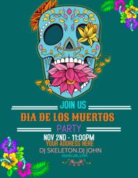 event flyer , party flyer , dia de los muerto