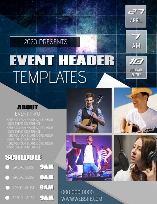 EVENT FLYER POSTER TEMPLATE Volante (Carta US)