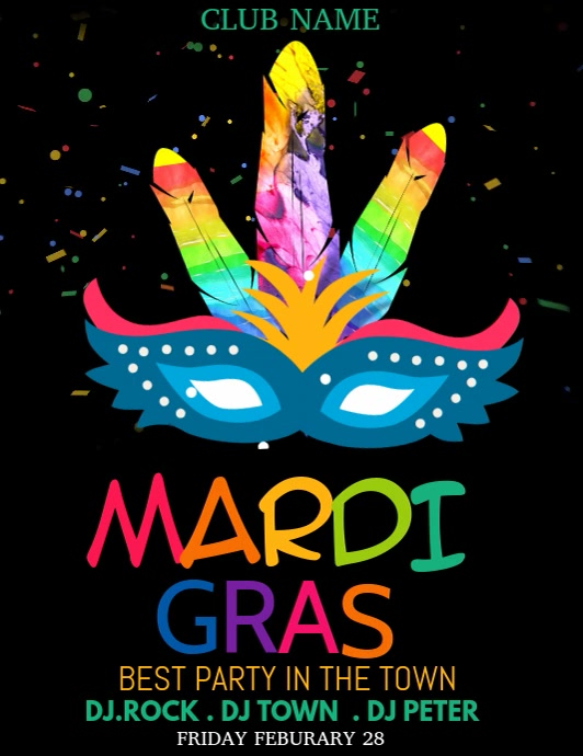 Event flyer templare,carnival flyers,mardigras flyers