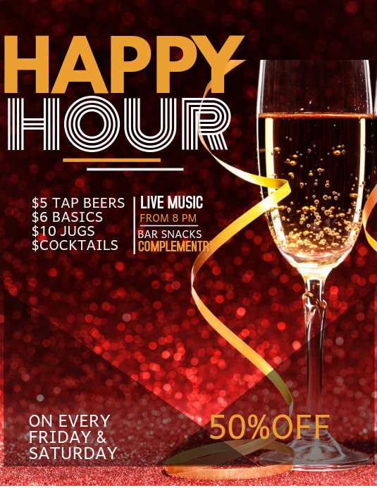 Event flyer template,Bar flyer,Happy hour template
