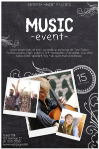 Event flyer template with three images