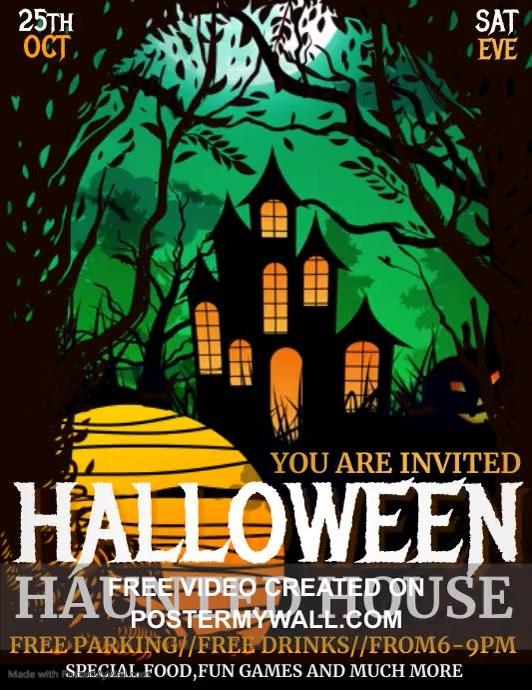 event flyers,Halloween flyer videos 传单(美国信函) template