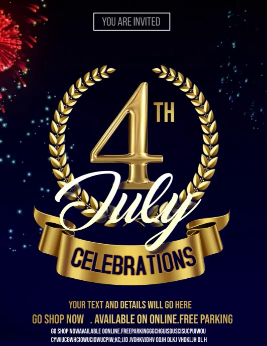 4th of July,independence day video flyer Folder (US Letter) template