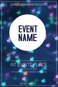 event heart bokeh flyer template