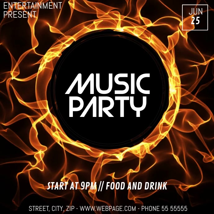 Event party video flyer template 方形(1:1)