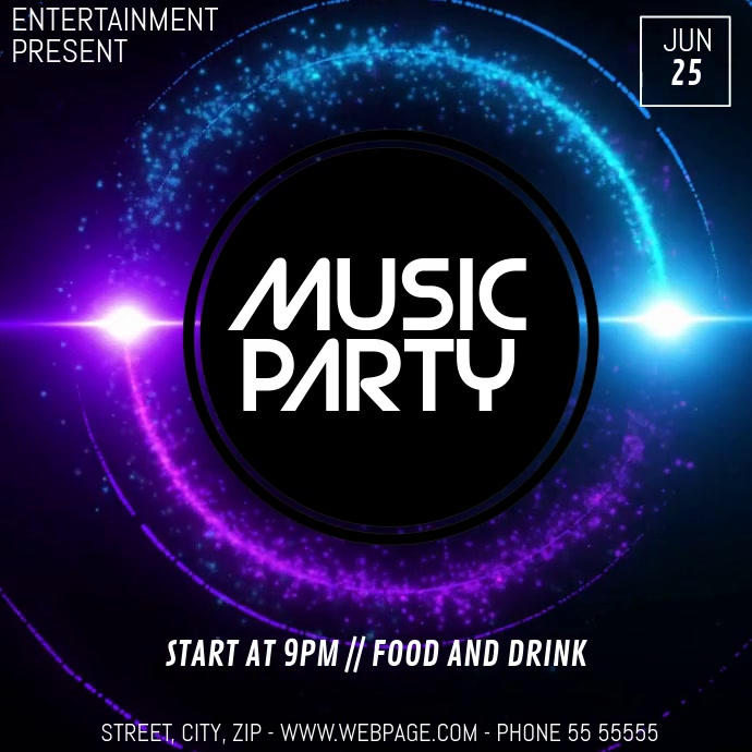 Event party video flyer template Vierkant (1:1)