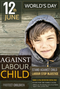 Event poster template,Campaign poster, Against child labour