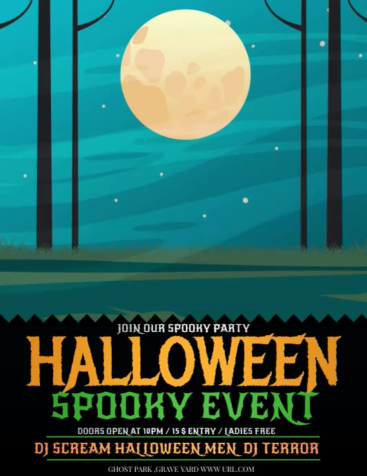 Event poster template,Halloween party Flyer ใบปลิว (US Letter)