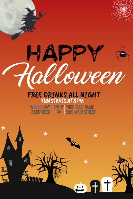 Event poster template,Halloween party template