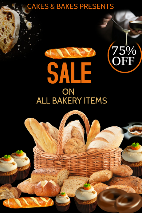 Event poster template,bakery sale poster template