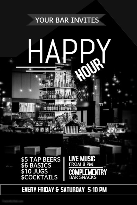 Event Poster TemplateBar FlyerHappy Hour Template  Postermywall