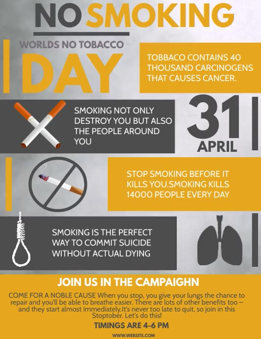 No smoking day flyers template