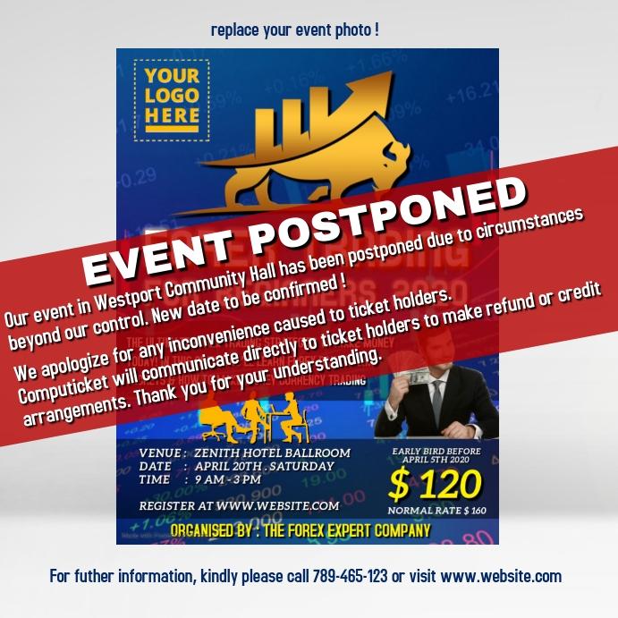 Event postponed announcement design template โพสต์บน Instagram