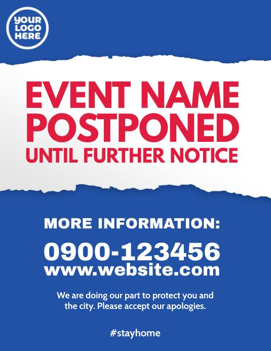 event postponed coronavirus covid notice ad ใบปลิว (US Letter) template