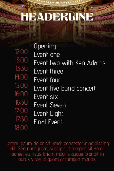 event schedule flyer poster template postermywall. Black Bedroom Furniture Sets. Home Design Ideas