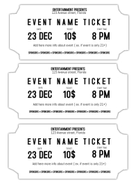 Event Ticket Template Black And White Printable  Blank Ticket Template