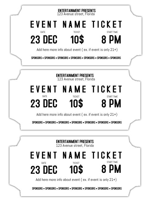event ticket template black and white printable postermywall. Black Bedroom Furniture Sets. Home Design Ideas