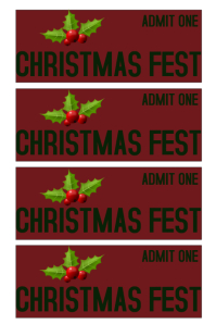 Event ticket template christmas fest