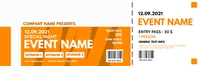 event ticket orange and white colors template Banner 2' × 6'