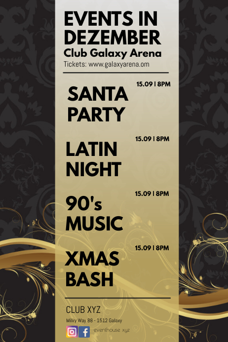 Events Calendar Gold Christmas Celebration Ad