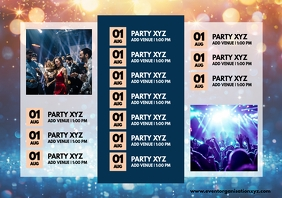 Events Calendar Partys Monthly Upcoming Ad A4 template