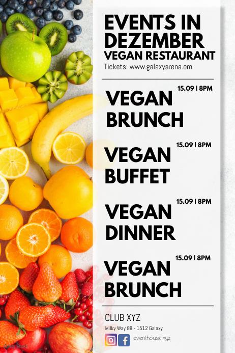 Events Calendar Restaurant Bistro Food Vegan
