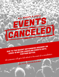Events canceled announcement flyer template