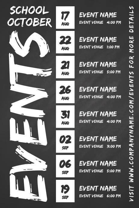 Events Schedule Calendar Template Póster