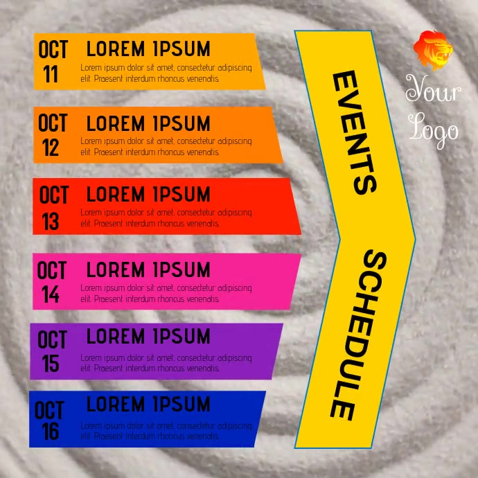 EVENTS SCHEDULE TEMPLATE Wpis na Instagrama