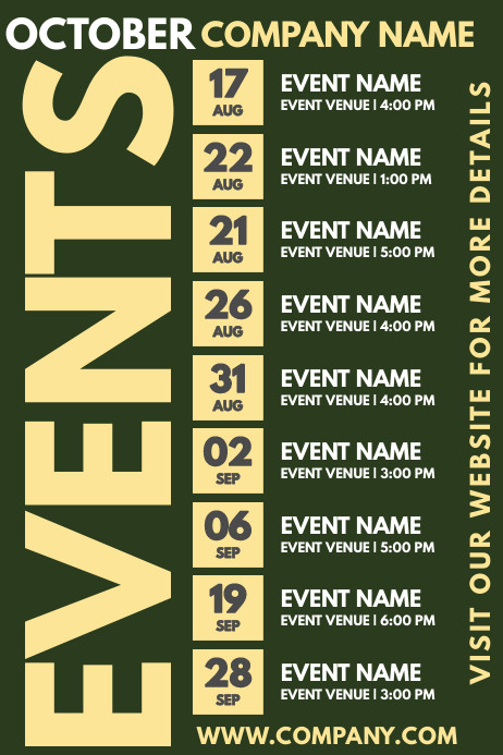 Events Schedule Template Poster