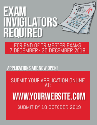 Exam Invigilators Wanted Flyer Template