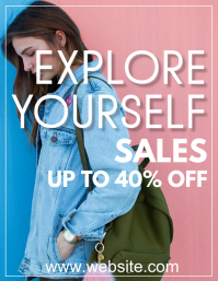 explore yourself sales up to 40% off Folheto (US Letter) template