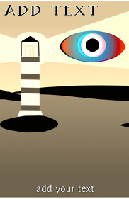 Eye & Lighthouse in the coast simple design template tabloid size