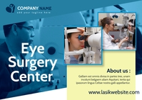 eye surgery center advertisement blue and whi Postcard template