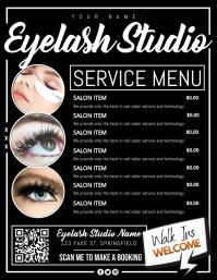 Eyelash Studio Service Menu Poster Volante (Carta US) template
