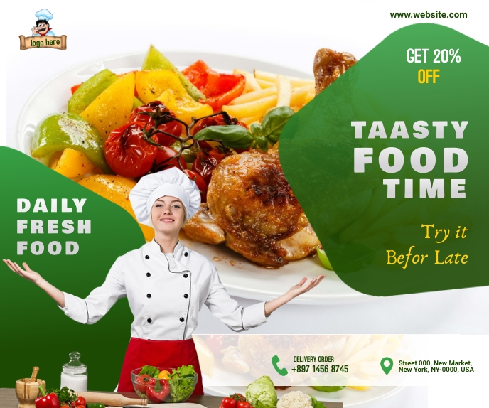 f Restaurant ads Large Rectangle template