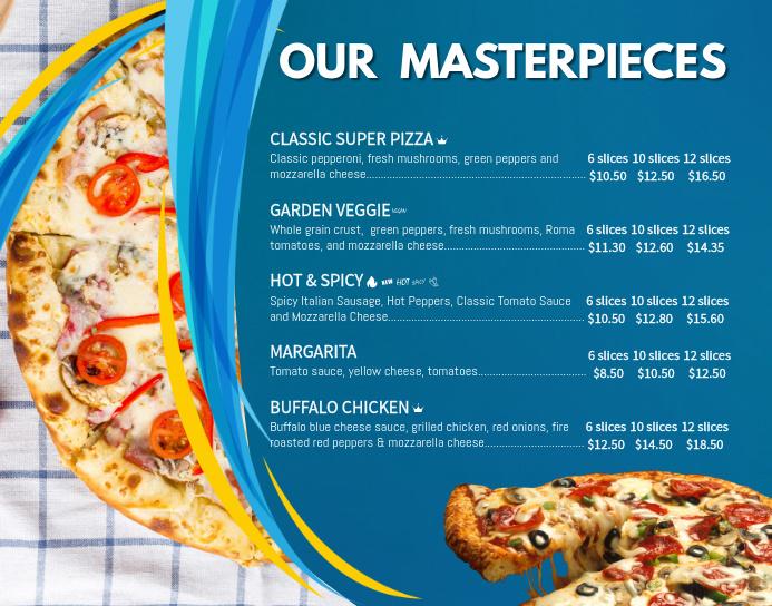Pizza Poster Menu Template Poster/Wallboard