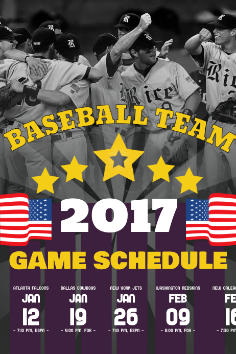 Baseball Schedule Poster Template โปสเตอร์