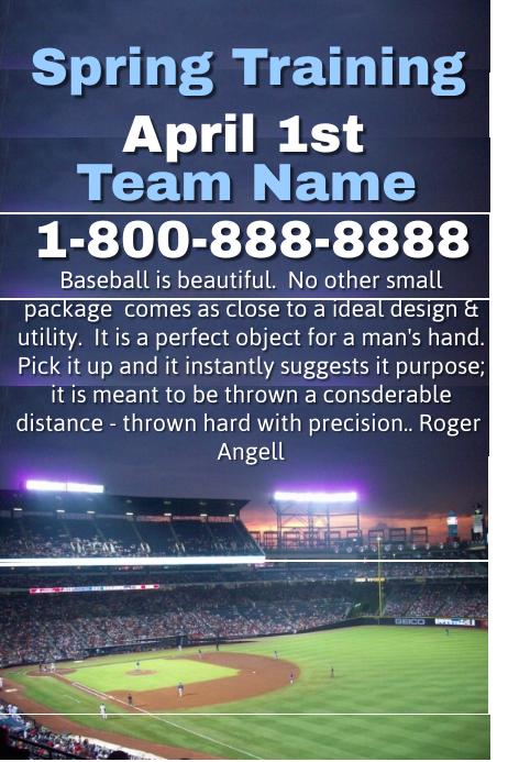 Baseball Spring Training Camp Poster template