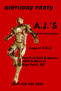 Iron Man Birthday Invitation